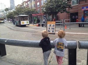 Max and Calvin check out the cable car.