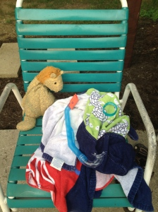 Lion hangs at the pool.