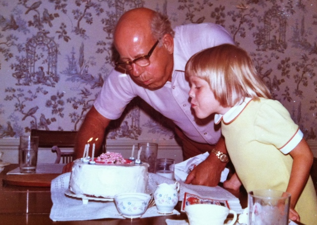 My Papa and I blowing out my candles on my sixth birthday. My own kids just turned six! Read about it here: http://bit.ly/1OBPVUN