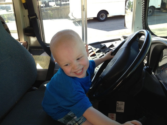 Calvin on a school bus.