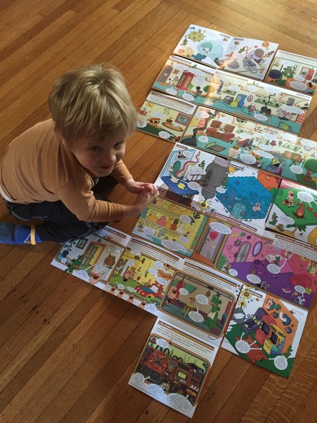 Max enjoying one of Brandon's Uncle Grandpa books.