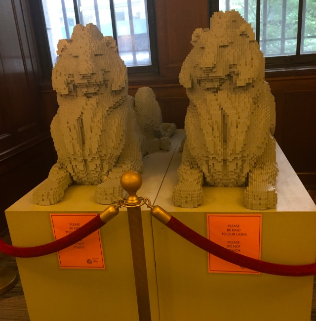 In the children's section of the NYC library, these Lego lions reign.