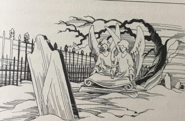 drawing of graveyard.